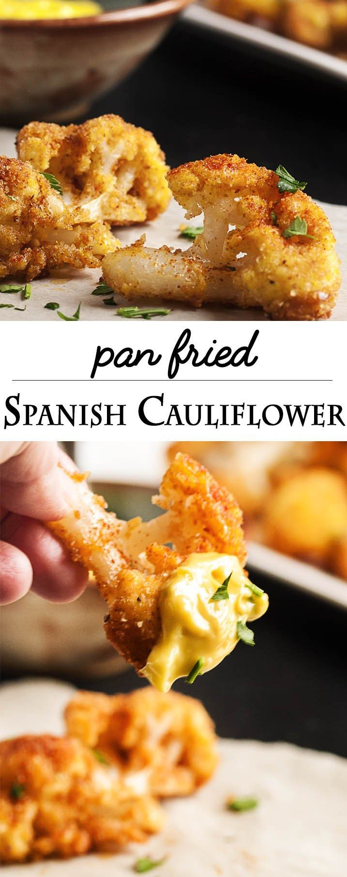Pan Fried Spanish Cauliflower Tapas - These breaded fried cauliflower bites are a simple and tasty tapas dish you should make at your next get-together! Just a quick dunking in egg and breadcrumbs and a minute in a skillet and