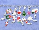Mixed Silver Plated Enamel Christmas Clip On Charms Fit Link Chain Bracelet 32x8mm-40x16mm, sold per packet of 50 $13.7
