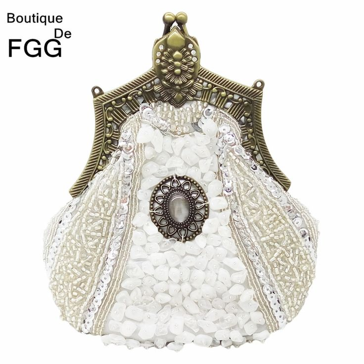 Retro Bronze Plated Women Beaded Pearl Sequin Evening Party Silver Clutch Bags Wedding Bridal Handbags and Purses Metal Clutches