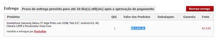 [ Ponto Frio ] Galaxy S7 Edge - R$ 2.047,36 + Frete no boleto + 10x1 Multiplus