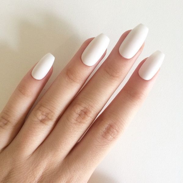 Matte white coffin nails, hand painted acrylic nails, fake nails,... (€17) ❤ liked on Polyvore featuring beauty products, nail care, nail treatments, nails, makeup, nail polish, beauty and backgrounds