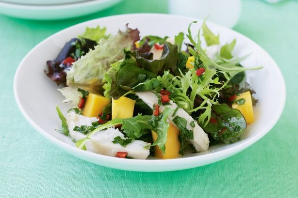 The sweetness of mango plays with the succulent chicken to create a winning salad meal.