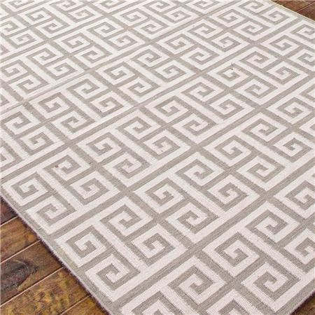 Greek Key Dhurrie Rug Shown In Grey Sky And Cream Also Sea Blue 9x12 887 Ship Ulster St Living Room Pinterest Rugs