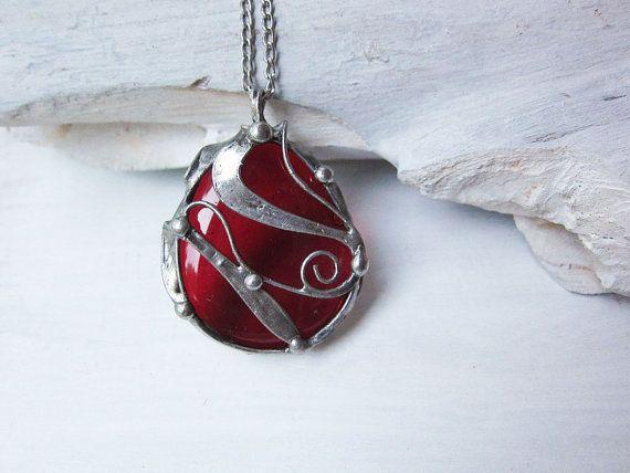 Red Glass Necklace Large Pendant Necklace tiffany by MaryBulanova