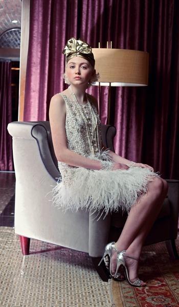 Great Gatsby look // Oscar de la Renta dress // Turban by Selima Hats // Tiffany & Co necklaces // Bracelets from icing.com // Stuart Weitzman heels