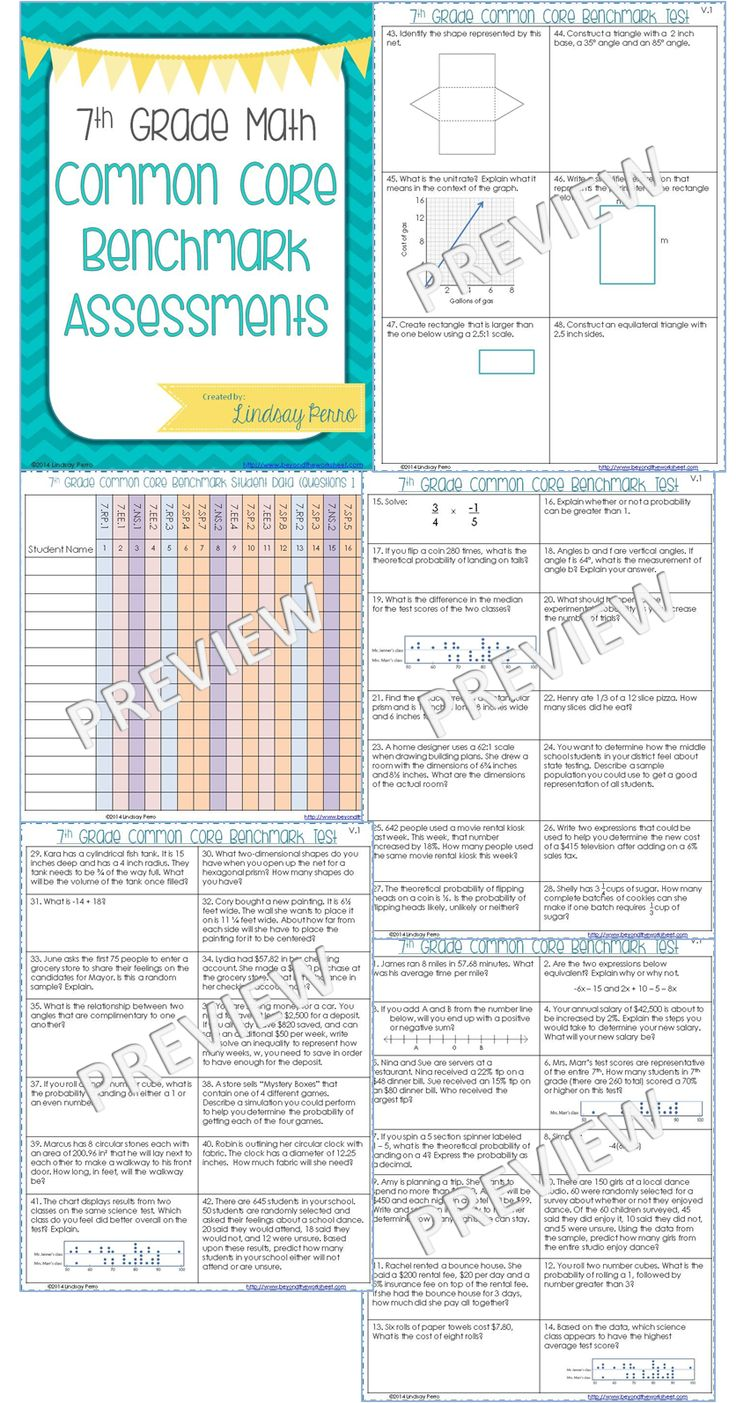 7th Grade Math Common Core Benchmark Exam - Two versions of the same test are included, each with 48 questions. The questions on each version are nearly identical, with the exception of different numbers. Each version has TWO questions per standard.