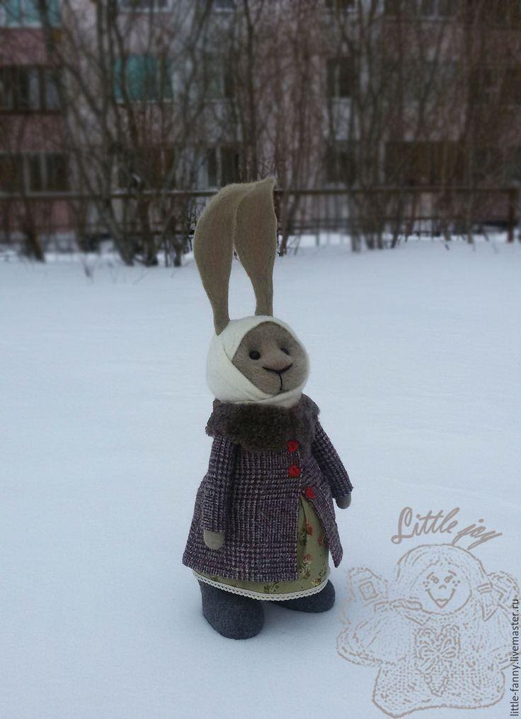 Купить игрушка Зая Зоя - комбинированный, заяц, зайка, кролик, интерьерная игрушка, пальто, уши