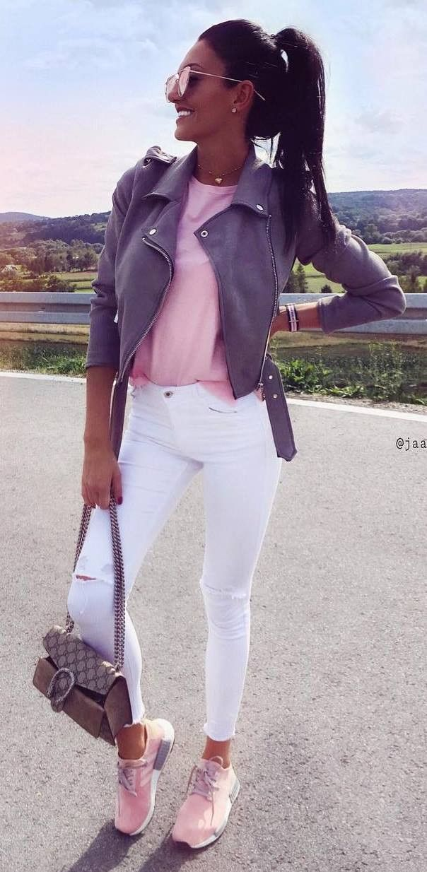 casual style perfection / grey biker jacket + top + bag + white rips + sneakers