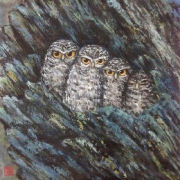 framing art painting - owl