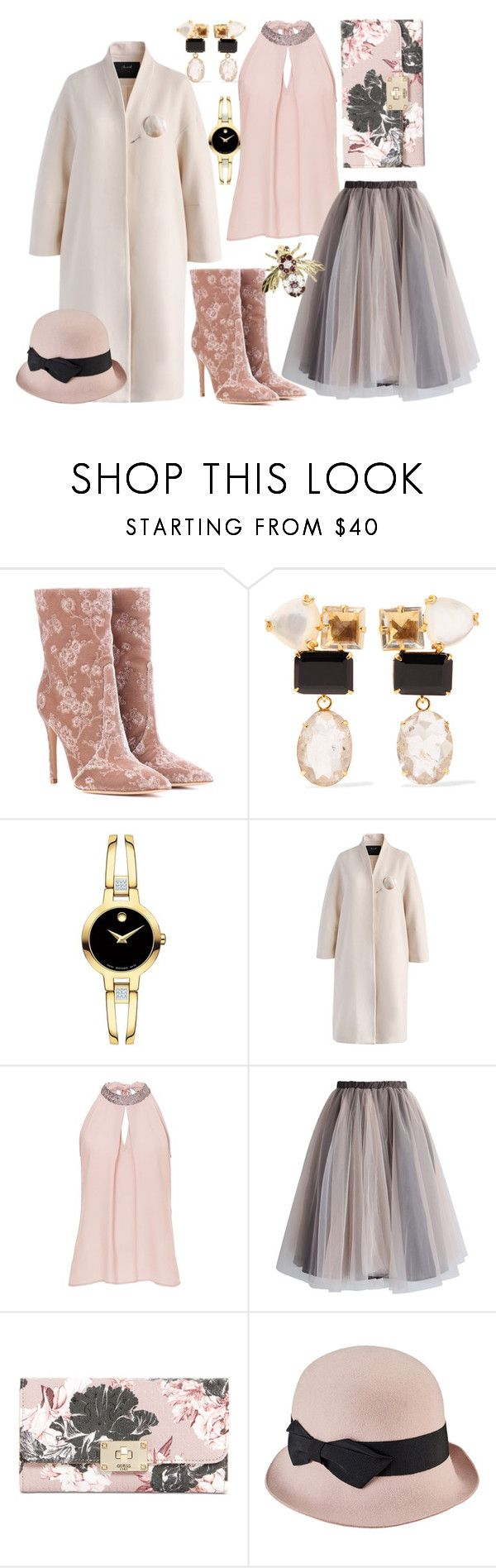 """Elegant floral"" by okcini9 ❤ liked on Polyvore featuring Gianvito Rossi, Bounkit, Movado, Chicwish, Vera Mont, GUESS, San Diego Hat Co., Vintage, floralprint and polyvorefashion"