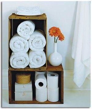 Organizador para baño, encuentra más opciones para reciclar en http://www.1001consejos.com/muebles-con-cajas-de-madera/