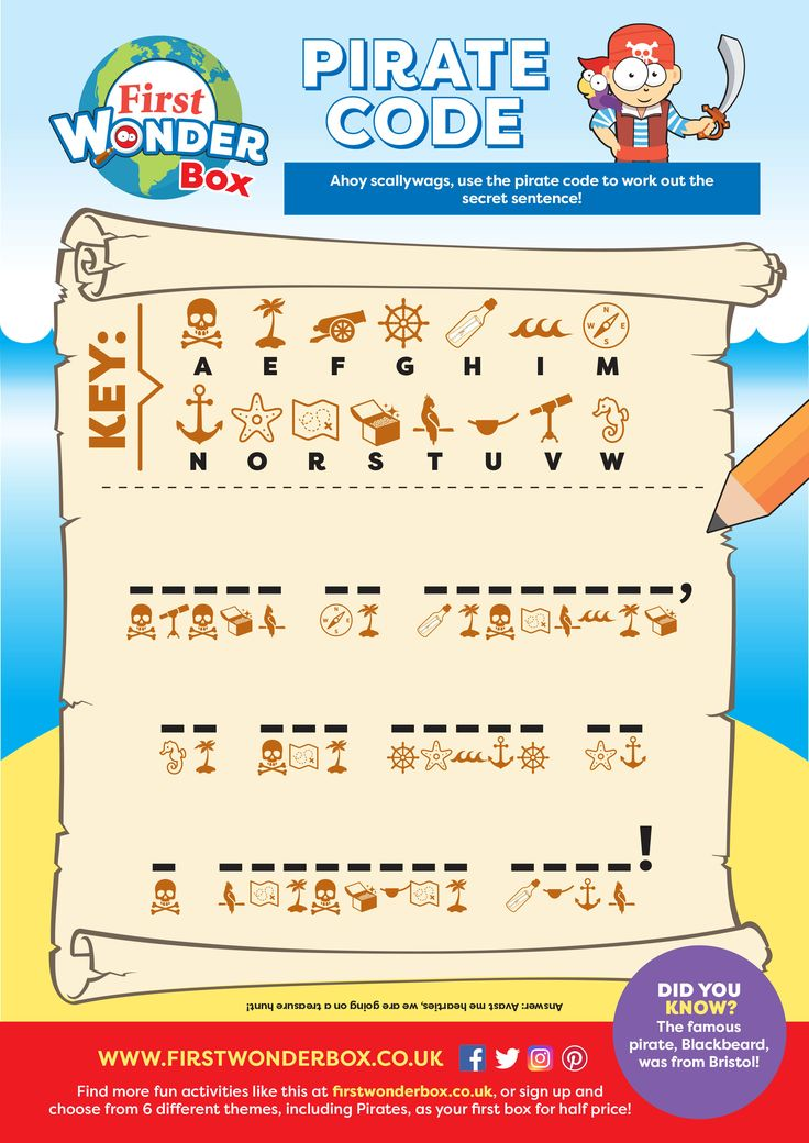 Pirate puzzle activity sheet for kids. Print or download