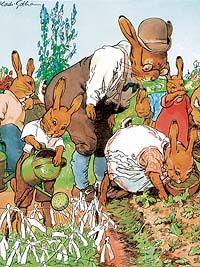 """Häschenschule: """"Mit den grünen Wasserkännchen laufen hier die Hasenmännchen, weil das Kraut die Blätter hängt, wird's mit kühlem Naß besprengt."""""""