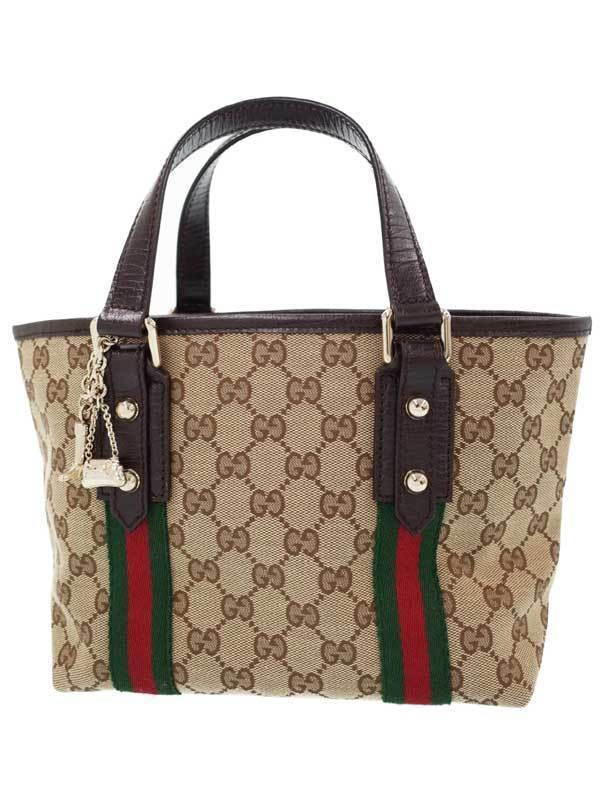 f84fdbbce7e Authentic GUCCI GG Canvas   Leather Tote bag Handbag with Charm Brown RankA