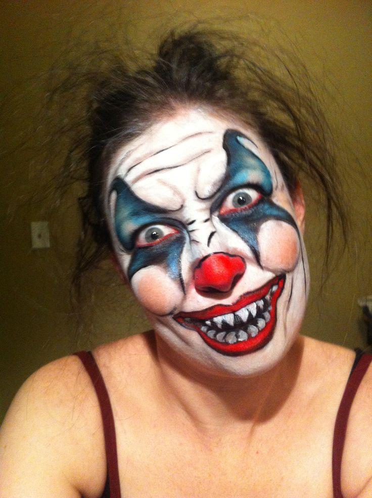 scary halloween crazy clown makeup Clown makeup