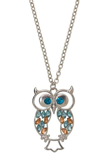 Embellished Owl Pendant Necklace (original price, $12) available at #Maurices