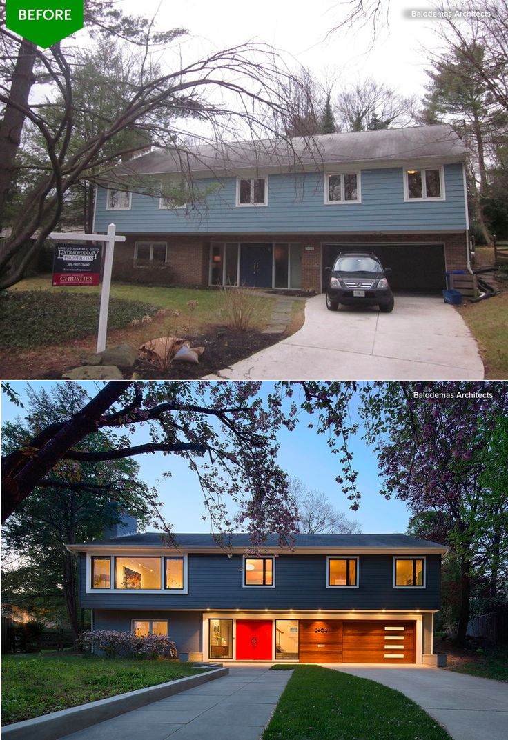 Masterful remodel of a blah builder exterior (and interior) to a mid-century stunner