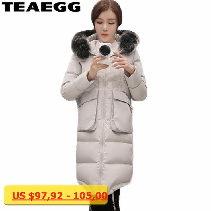 TEAEGG Gray Hooded White Duck Down Jacket Woman Abrigo Plumas Mujer Outwear Warm Down Jacket For Women Chaqueta Mujer 6XL AL92