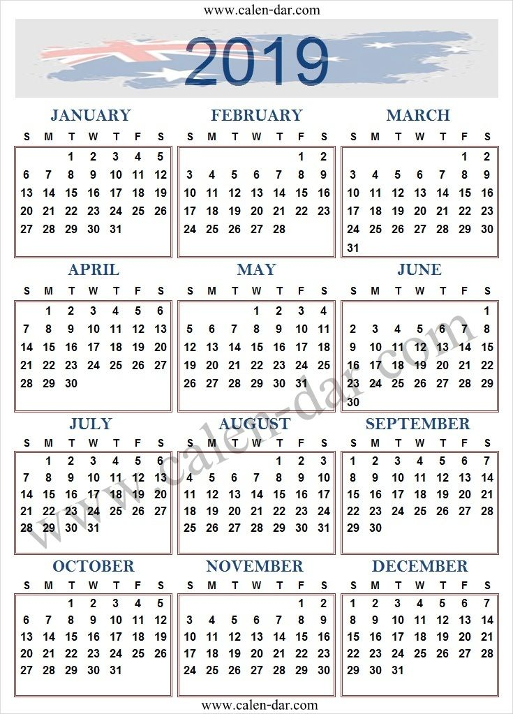 2019 Year Calendar Australia Printable Template January