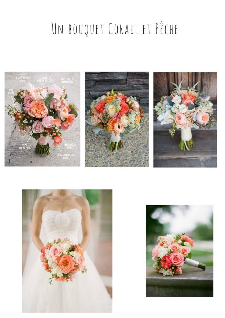 Des idées de bouquets de mariée en veux-tu en voilà! Un bouquet corail et pêche.   L'ensemble de l'article à retrouver sur le blog http://mesptitsbonbons.blogspot.fr/