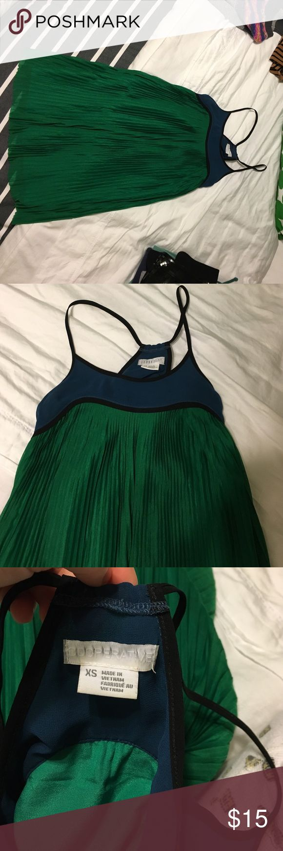 Green Knifepleat UO Cooperative Dress In perfect condition, wore twice, beautiful emerald green + blue + black, size XS, purchased from Urban Outfitters store, no stains/spots/damage Urban Outfitters Dresses Mini
