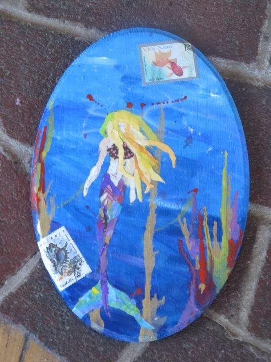 Trudi Inglis - Blue Kiwi Krafts  painted paper collage