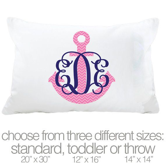 Monogram pillowcase initials with chevron anchor by zoeysattic