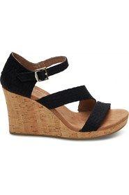TOMS - Clarissa Sort sandal med kilehæl i kork