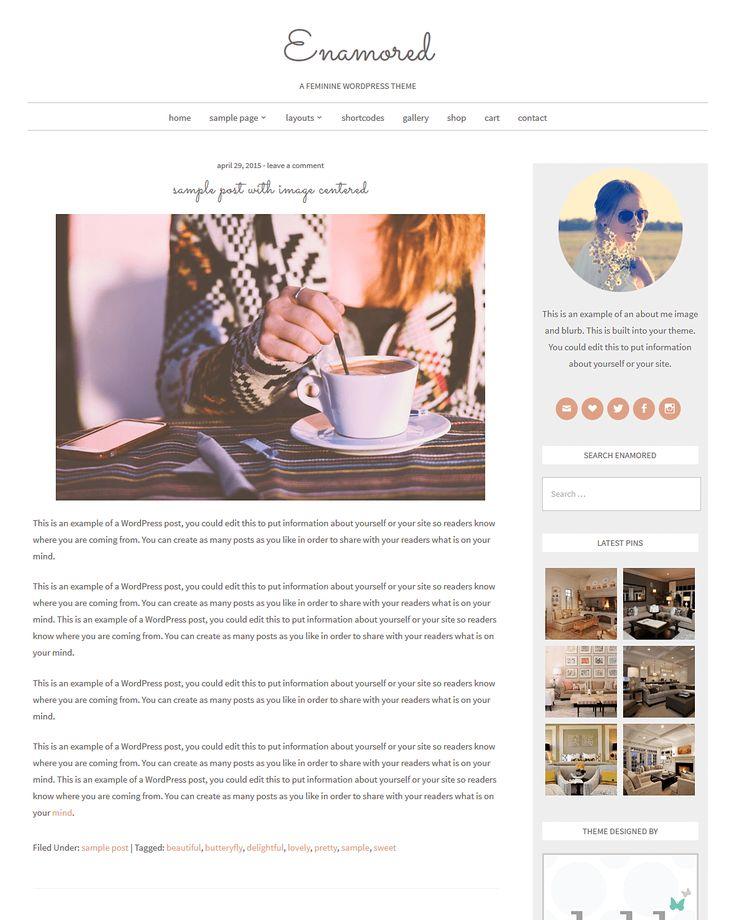 Free Feminine WordPress Theme - Enamored - Beautiful Dawn Designs