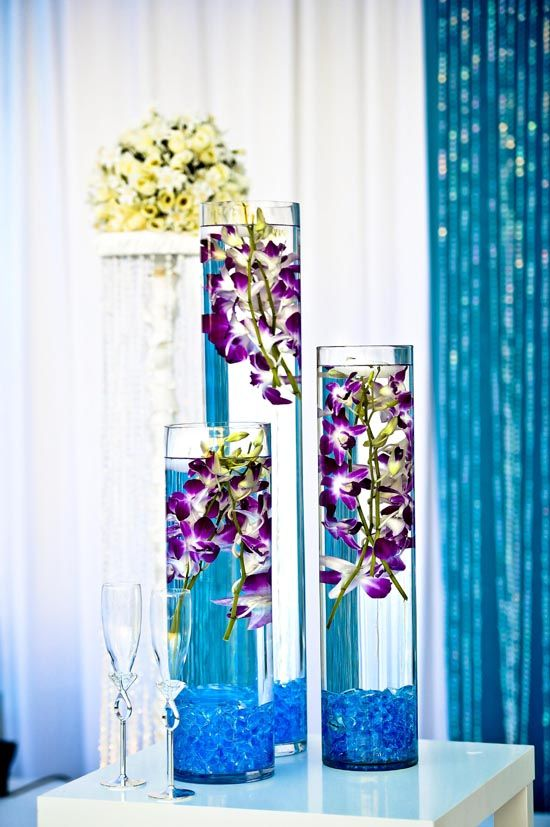 South Asian Bride mag: Real Wedding: Purple Orchids, South Asian Bride, Bride Mag, Asian Wedding Ideas, Real Wedding, Wedding Colors, Centerpieces, Colors Flowers, Center Piece