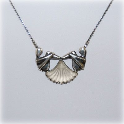 Cute people sterling silver necklace with opaline. Entirely handmade in our workshop.