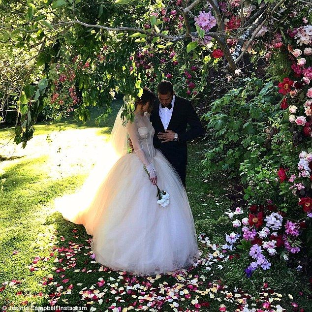Jesinta Campbell recently dazzled in a princess-style Vera Wang wedding dress as she exchanged vows with Sydney Swans star Lance 'Buddy' Franklin in Queenstown, New Zealand.