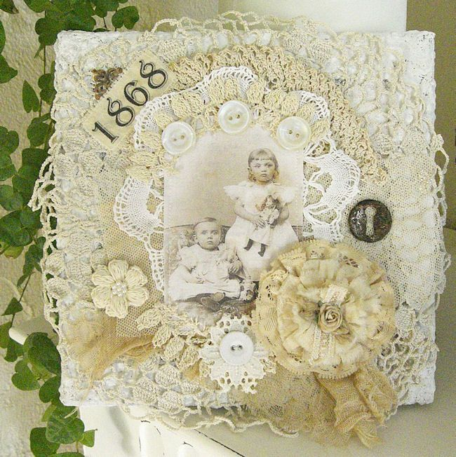 Shabby Chic Inspired: another fabric collage on canvas