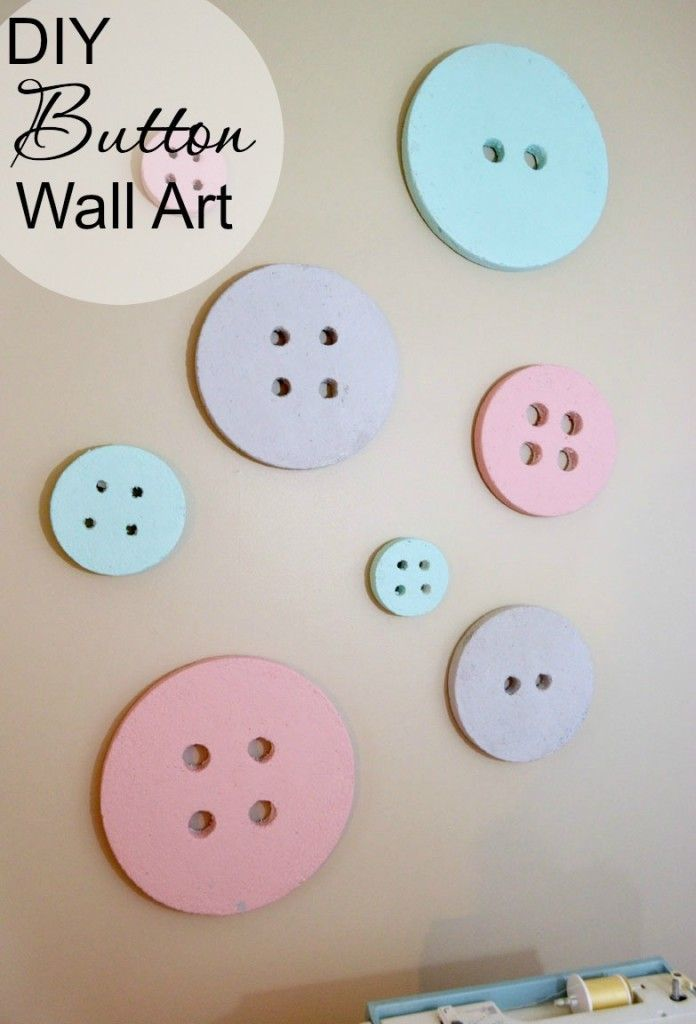 DIY Button Wall Decor made with styrofoam discs! So easy and perfect for a craft or sewing room.
