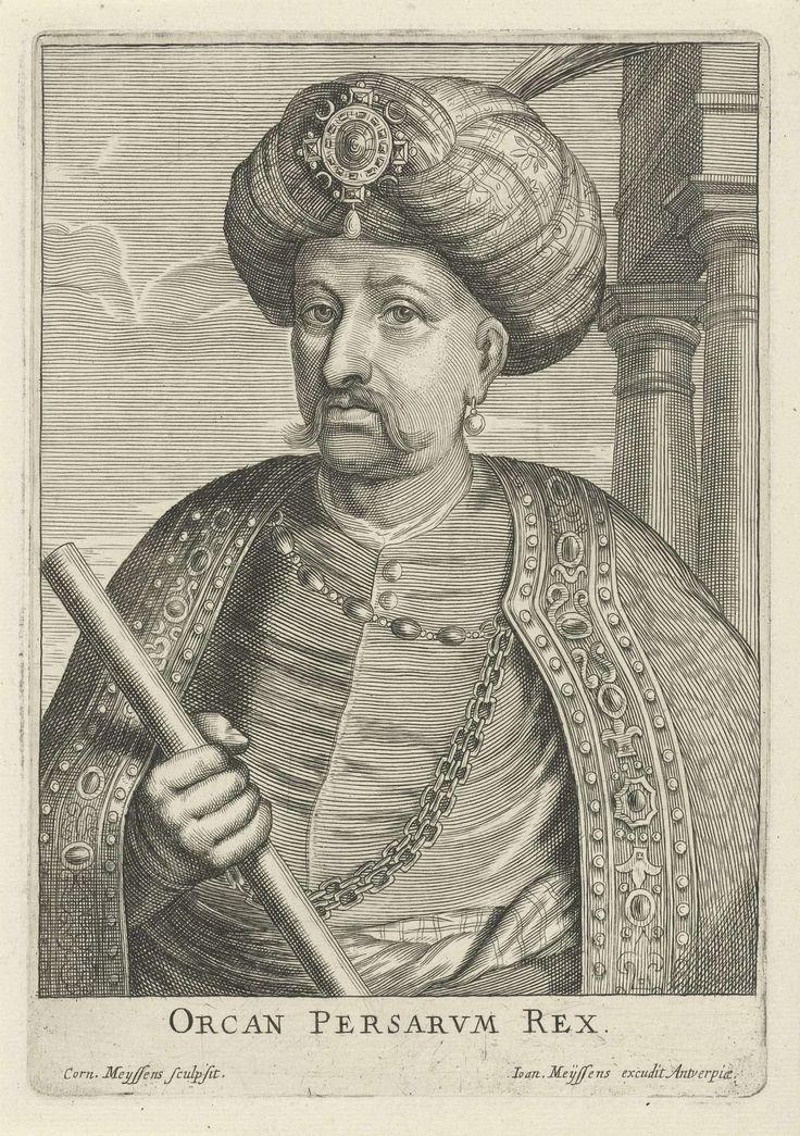 Cornelis Meyssens | Portret van Orcan Persarum Rex, Cornelis Meyssens, Joannes Meyssens, 1650 - 1670 | Portret van Orcan Persarum Rex, met een bevelhebberstaf in zijn hand en een tulband op zijn hoofd.