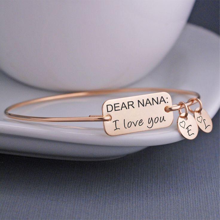 Nana Bracelet, Dear Nana I Love you Bangle Bracelet, Nana Gift, Nana Mother's Day Jewelry – georgie designs personalized jewelry