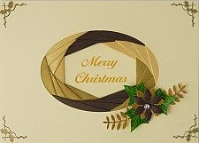 handmade card .... oval frame with iris folding ... CRAFTEE Iris Folding Kit .. Christmaas in gold, brown and vanilla ... luv the look of the wide iris folded frame ...