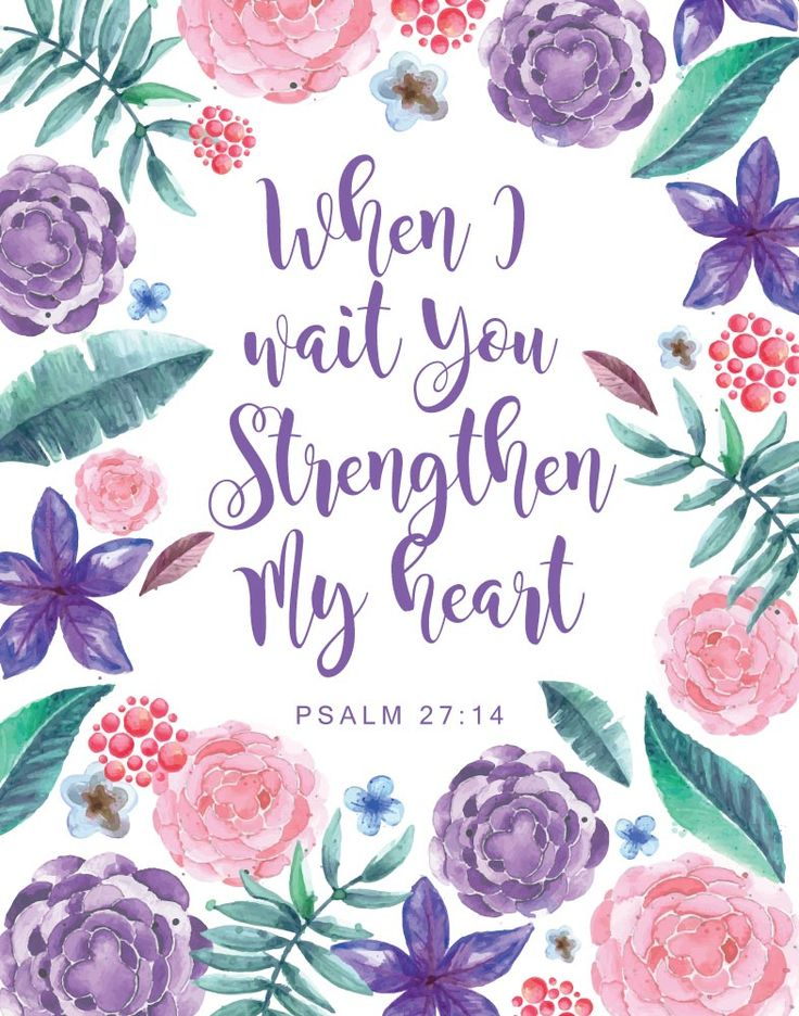 $5.00 Bible Verse Print - When I wait you strengthen my heart Psalm 27:14 Oh, the joys of waiting! We've all experienced what it's like to wait for a prayer to be answered. It's definitely not my favorite thing but Psalm 27:14 tells us that during this time He strengthens our heart. He gives us the hope to keep pressing forward and when our waiting period is over our blessings remind us that we made it and that we're stronger then we thought. -Different size options available #scriptureprint