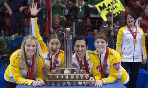 Team Jones with the Scotties trophy - kaitlyns 1st and for the rest it is their 5th win