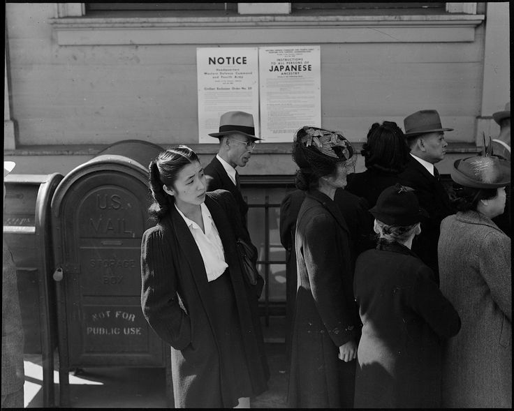 PRINT AVAILABLE April 25, 1942 — San Francisco, California. Residents of Japanese ancestry appear for registration prior to evacuation. Evacuees will be housed in War Relocation Authority centers for the duration.
