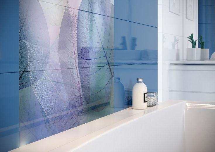 błękit, liście, pastelowe kolory, płytki błyszczące, Vivid Colours - Opoczno - płytki łazienkowe 25x75. Stosując mocne kolory w łazience warto być ostrożnym w doborze dodatków. Less is more!