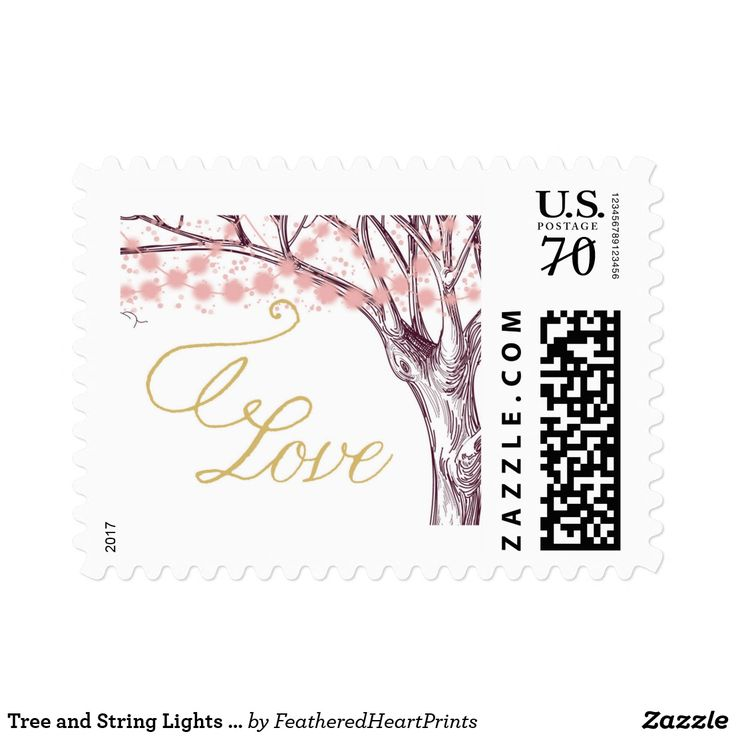 Tree and String Lights Wedding Love Postage Stamp, pink and gold, Burgundy and pink