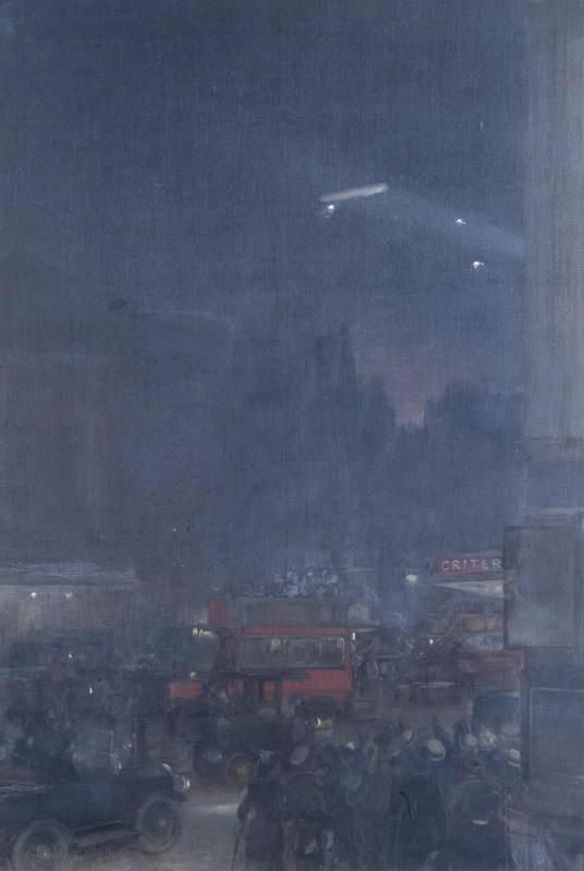 """djuna on Twitter: """"The First Zeppelin Seen From Piccadilly Circus, 8th September 1915 http://t.co/3OZWZ92WPm"""""""