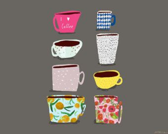 Coffee greeting card by Nicola Rowlands