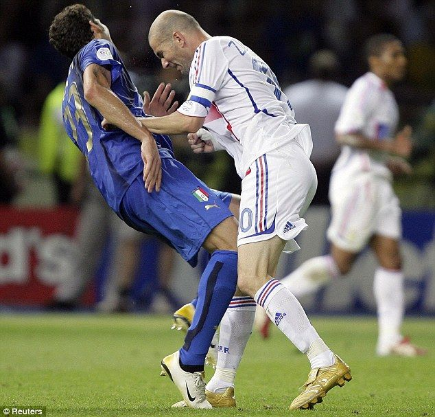 Losing his head: Zidane butts Marco Materazzi in the 2006 World Cup final...