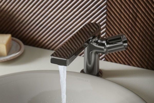 composed faucet in titanium finish from