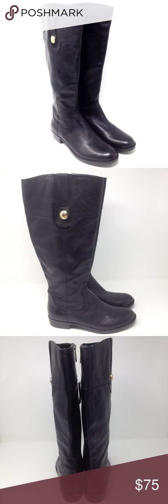 """Tommy Hilfiger Black Leather Knee Ridding Boots Tommy Hilfiger Women's Boots Black Leather Knee High Riding Zip Up Shoes  Type: Boots Style: Riding / Equestrian / Zip Up / Knee High Model: TWDALYN-WC Brand: Tommy Hilfiger Size: 8.5 Heel Height: 1"""" Material: Leather & Textile Upper / Balance Man Made Color: Black w/ Gold Hardware & Emblem Condition: New with Tags - No Box Country of Manufacturer: China Tommy Hilfiger Shoes Over the Knee Boots"""