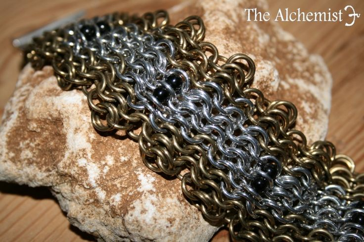Chainmail bracelet Black Magic with blackstone
