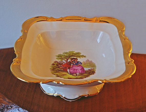 Vintage Footed Bowl Porzellanmalerei Parbus by Collectitorium