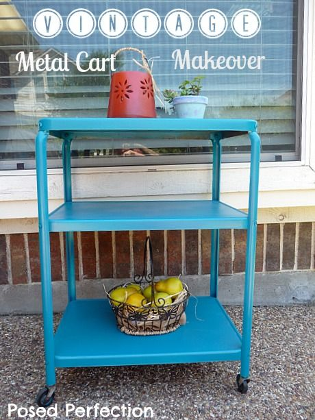 Vintage Metal Cart Makeover By Posed Perfection...serving Cart For Patio